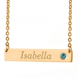 Personalized Horizontal Name Necklace with Birthstone   18  Chain
