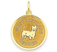 West Highland Terrier Disc Charm or Pendant