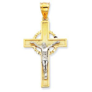 14K Two Tone Gold Diamond Cut Halo Cross Crucifix Pendant