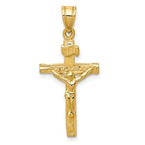 14k Yellow Gold INRI Crucifix Pendant