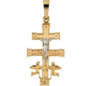 TWO TONE CARA VACA CROSS PENDANT
