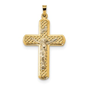 14k Two tone Polished and Textured INRI Crucifix Pendant