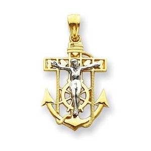 14K Two Tone Gold Mariner s Cross Pendant