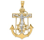 14k Two tone Mariner  s Crucifix Pendant