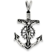 Sterling Silver Antiqued Mariner Crucifix Charm