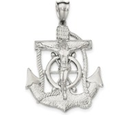 Sterling Silver Polished Mariner Cross Pendant