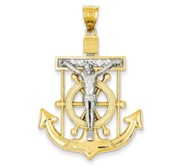 14k Two tone Diamond cut Mariner  s Cross Pendant