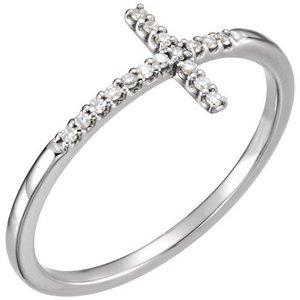 085 CTW Diamond Sideways Cross Ring