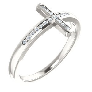 1 10 CTW Diamond Sideways Cross Ring