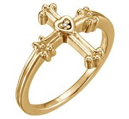 Trefoil Heart Cross Ring w  Diamond Accent