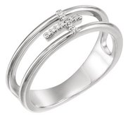 03 CTW Diamond Negative Space Cross Ring