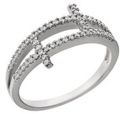 Sterling Silver Cubic Zirconia Sideways Double Cross Ring