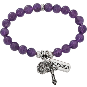 Two Decade Rosary Stretch Bracelet with Simulated Amethyst Beads