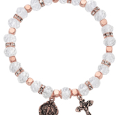 Stretch Copper Crystal Rosary Bracelet