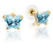Bfly Aquamarine  March  Birthstone Earrings  With Safety Back