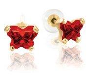 Bfly Garnet  Janurary  Birthstone Earrings  With Safety Back