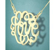 Round Fancy Script Love Monogram Cut Out Pendant
