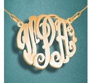Round Fancy Script Monogram 3 Letter Cut Out Pendant
