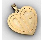 Heart Monogram 2 Letter Block Deep Engrave Pendant