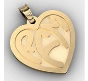 Heart Monogram 3 Letter Block Deep Engrave Pendant