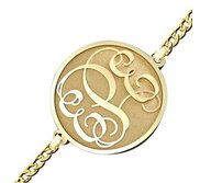 Circle Vine Script Monogram Bracelet