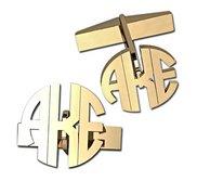Circle Cut Out Monogram Block Cuff Links