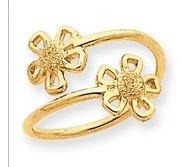 14k Yellow Gold Flower Toe Ring
