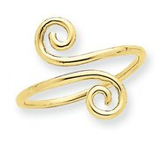 14k Yellow Gold Swirl Toe Ring