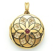 Victor Mayer 18K Gold Diamond Locket With Ruby
