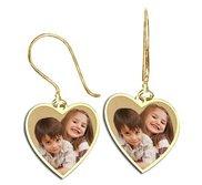 Heart Shaped Photo Pendant Kidney Wire Earrings
