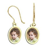 Oval Shaped Photo Pendant Kidney Wire Earrings