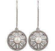 Freshwater Cultured Pearl    04 ct tw Diamond Earrings