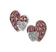 Genuine Pink Sapphire   Diamond Heart Earrings