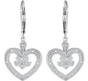 Diamond Heart Design Earrings