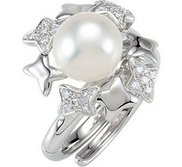 Freshwater Cultured Pearl   Diamond Hinged Two Finger Ring