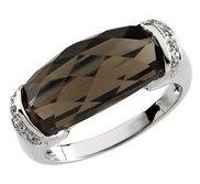 Genuine Smoky Quartz and Diamond Ring
