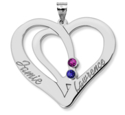 Personalized Couple s Heart Pendant w  Birthstones