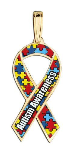 Autism Awareness Ribbon Rainbow Color Charm Pg83567
