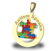 Autism Awareness Round Coutout Color Puzzle Piece Pendant