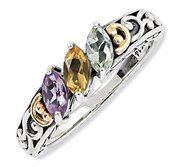 Sterling Silver   14k Three stone  Antiqued Mother s Ring