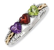 Sterling Silver   14k Gold Antiqued Mothers Ring w  Three Heart Stones