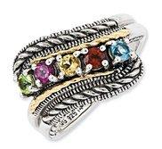 Sterling Silver   14k Fivestone  Antiqued Mother s Ring