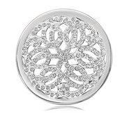 Nikki Lissoni Silver tone 1 1 4 Inch Swarovski Sparkling Baroque Coin