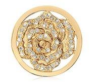 Nikki Lissoni Gold tone 1 1 4 InchSwarovski Sparkling Hortensia Coin