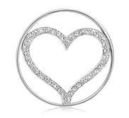 Nikki Lissoni Silver tone 1 1 4 Inch Swarovski Sparkling Heart Coin