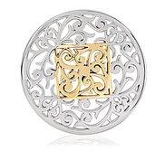 Nikki Lissoni Silver tone 1 3 4 Inch Square Fantasy Coin