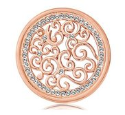Nikki Lissoni Rose tone 1 1 4 Inch Clear Swarovski Baroque Coin