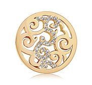 Nikki Lissoni Gold tone 1 Inch Clear Swarovski Elements Baroque Coin