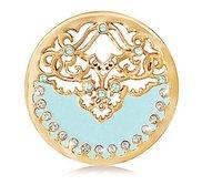 Nikki Lissoni Gold tone 1 1 4 Inch Swarovski Enamel Blue Coin