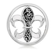 Nikki Lissoni Silver tone 1 1 4 InchEnamel French Curly Lily Coin